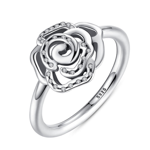 Sterling Silver Shimmering Delicate Rose Flower Ring Clear CZ, Rings, Think Bazaar