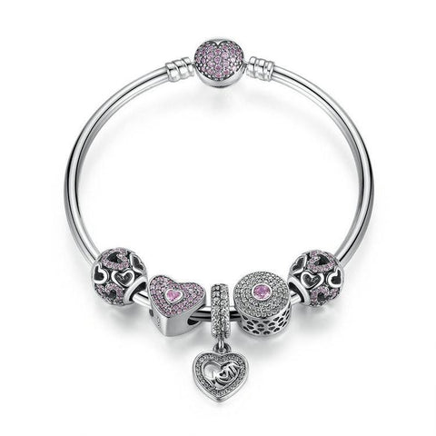 Sterling Silver Heart Mom Charms Bangle Pink CZ, Jewelry, Think Bazaar