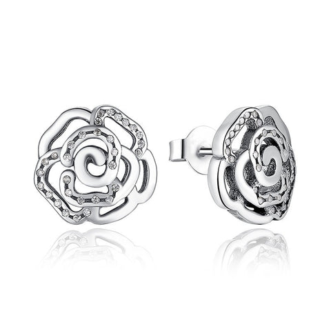 Sterling Silver Shimmering Rose Flower Stud Earrings Clear CZ, Earrings, Think Bazaar