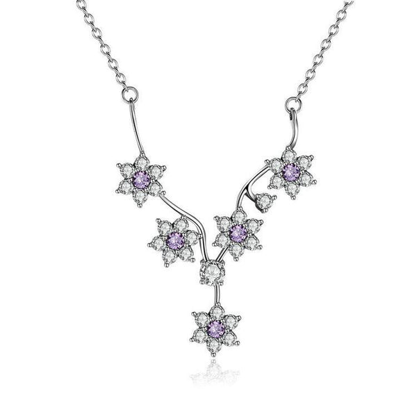 Sterling Silver Purple Flowers CZ Necklace, Jewelry, Think Bazaar