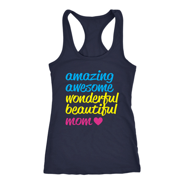 AMAZING AWESOME WONDERFUL BEAUTIFUL MOM TANK TOP, Tank Tops, Think Bazaar
