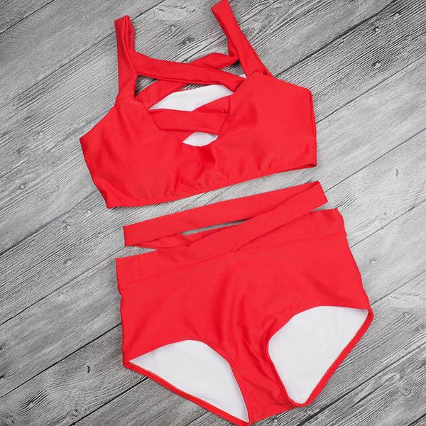 SEXY BANDAGE HIGH-WAISTED BIKINI SET, Bathing Suits, Think Bazaar