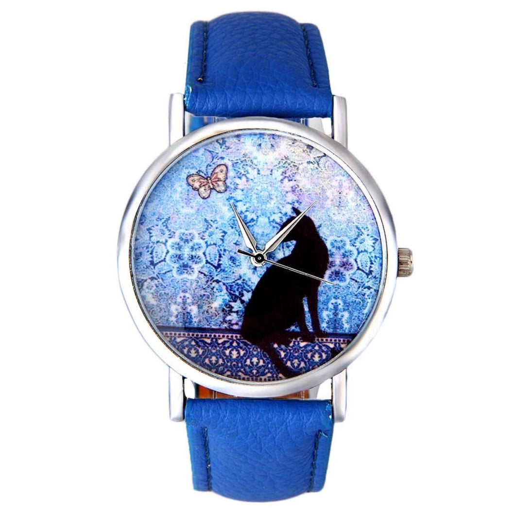 Watch Black Cat Butterfly - Blue PU Non Leather Band