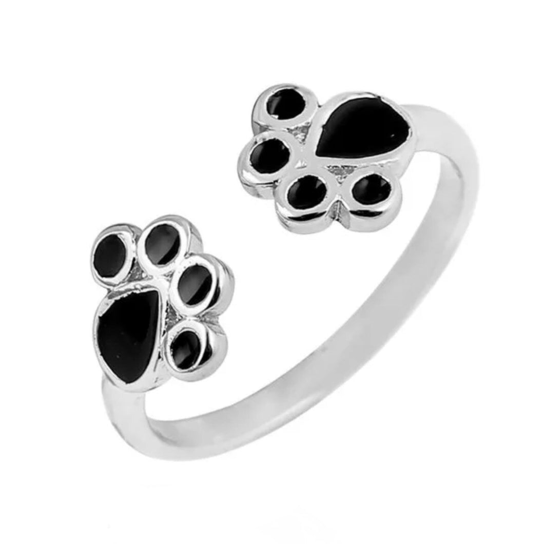 Ring Paw Print Adjustable - Silver Tone & Black