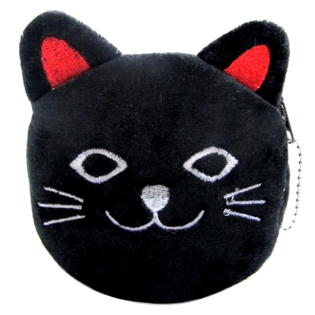 Coin Purse Cat Face - Black & Red