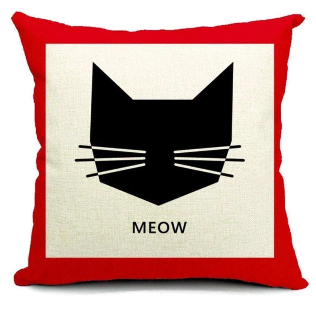 Cushion (Cover ONLY) Meow Icon - Black and Red Print