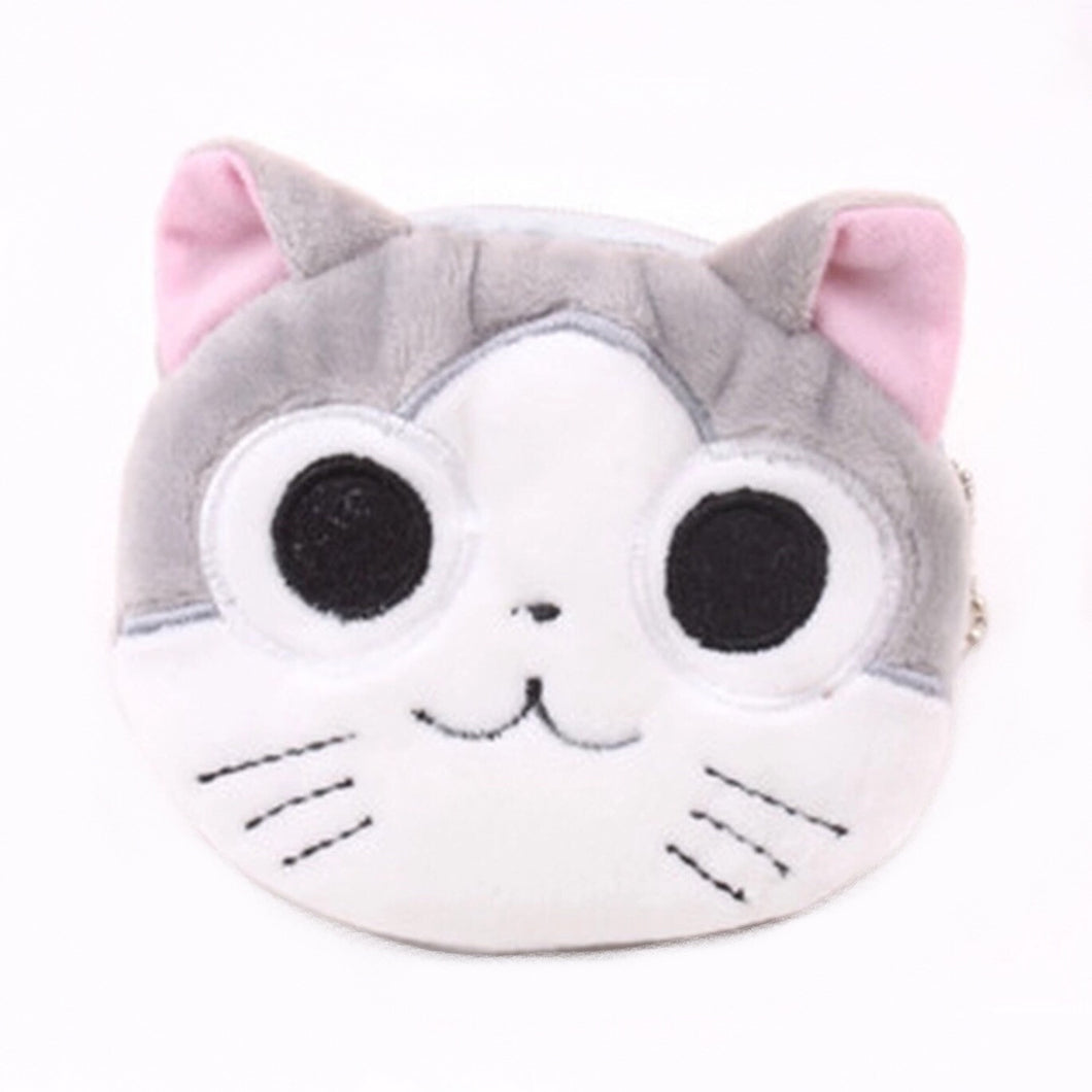 Coin Purse Cat Face - Grey & White