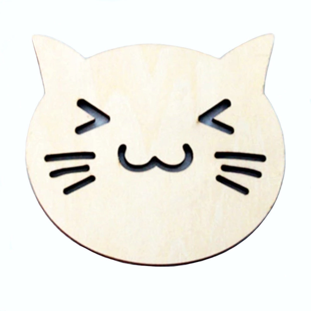 Coasters (Set of 2) Happy Cat Face - Wooden