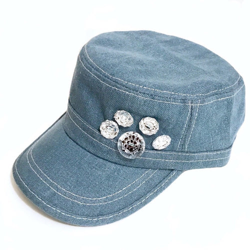 Cap Bling Paw Print- Blue Denim or Black