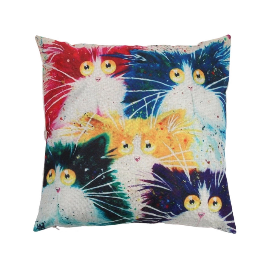 Cushion (Cover ONLY) Colourful Cats - Multi Colour