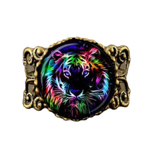 Pendant Necklace & Ring Rainbow Tiger - Antique Bronze
