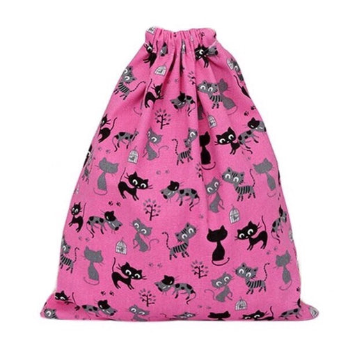 Bag Canvas Black Cats - Pink