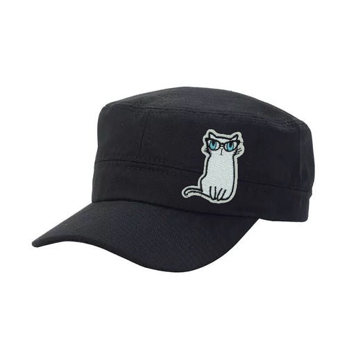 Cap White Cat with Glasses - Blue Denim or Black