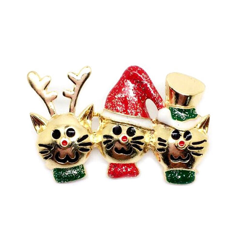 Brooch Christmas - Cat Trio