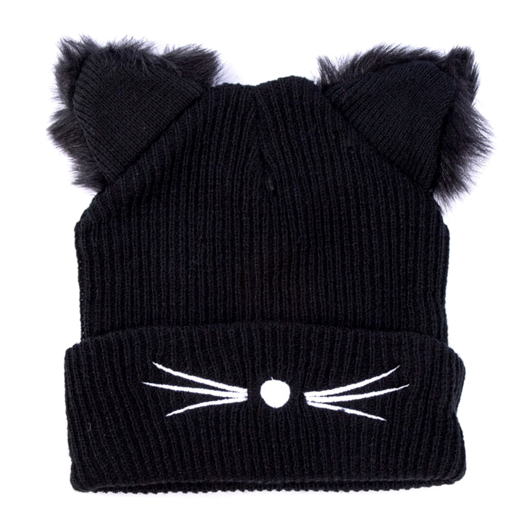 Beanie Fluffy Ears - in Black ONLY (Size - Petite)