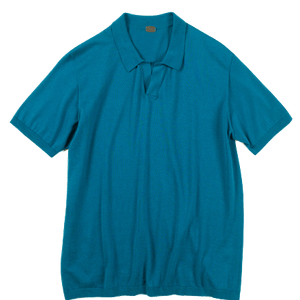 Plain front Polo shirt with no button (GIZA45) by 991 Japan