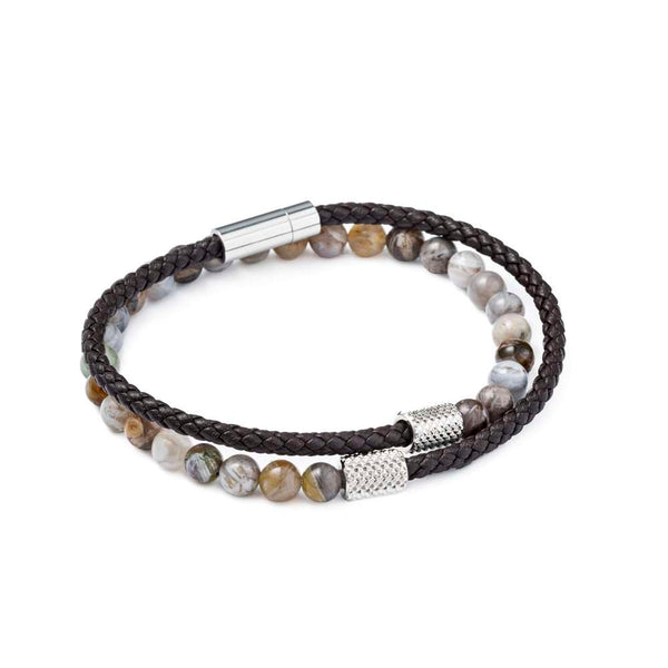 Leather and Beads Bracelet by Mon Art Firenze - KAZUNA