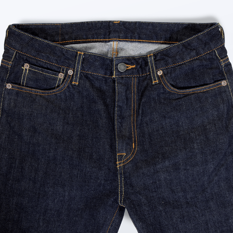 Slim Straight Stretch 14oz Japanese Selvedge Denim Jeans by Denim Works - KAZUNA