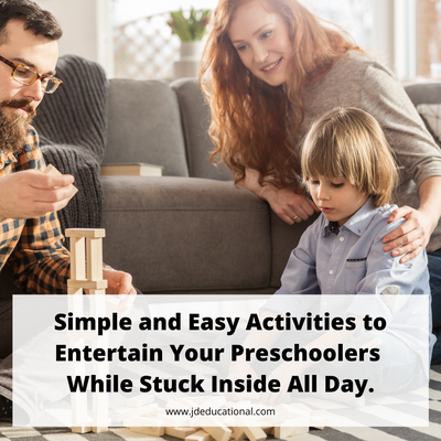 Simple activities to keep your Preschoolers ENTERTAINED while stuck inside all day.