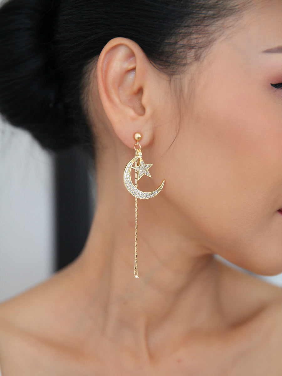 18K Moon & Star Earrings