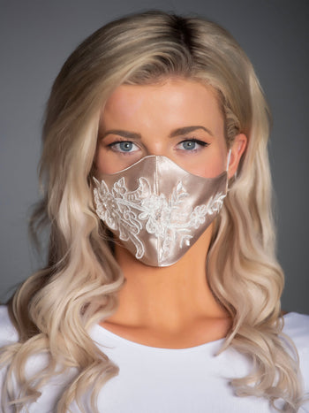 Nude Satin Mask with White Floral Applique
