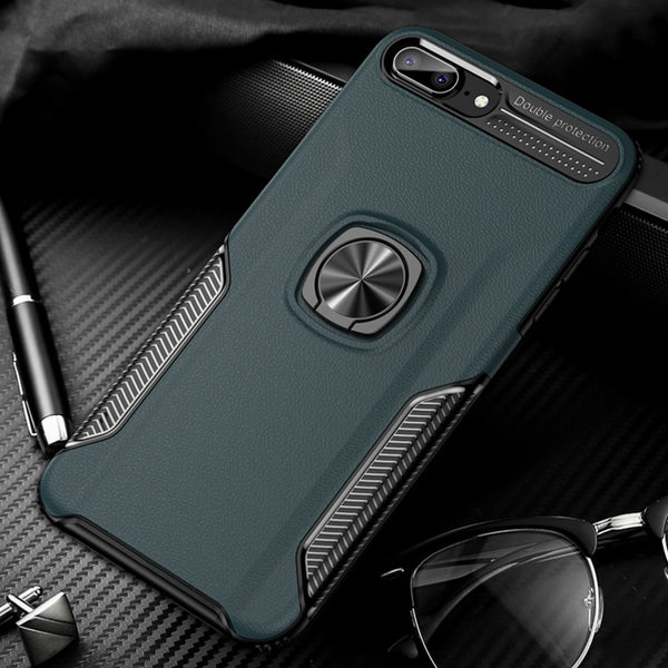 Luxury Leather Shockproof Case For iPhone Multiple Models With Car Magnet