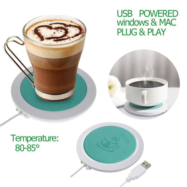 USB Safe Coffee/Tea Warming Leather Pad Coaster: Office & Home - StoreFour
