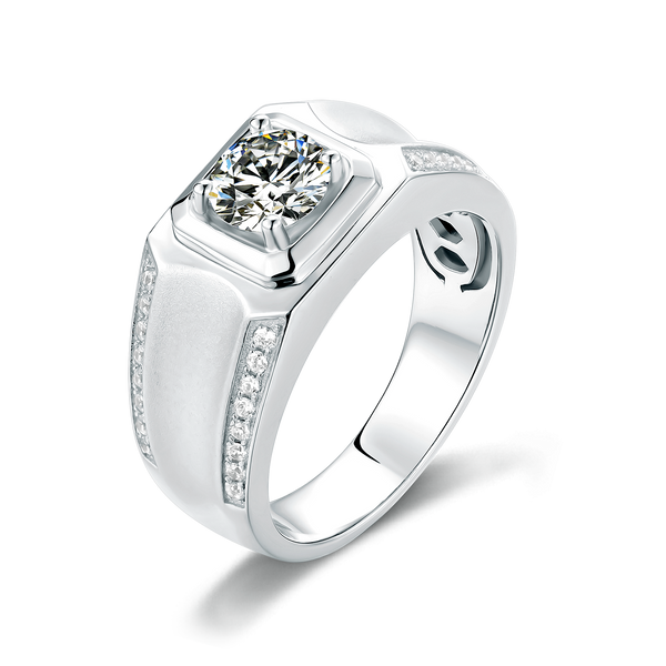 Men's High Quality 1ct 6.5mm Moissanite 925 Sterling Silver Ring