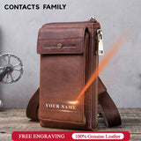Retro Leather Phone bag case For iphone se 2020 cover Pocket Cases for iphone 8 11 pro Waist Bag Belt wallet zipper shoulder bag
