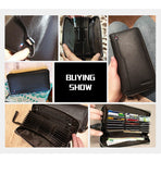 Men's Genuine Leather, RFID Blocking, Zipper Wallet /iPhone Case