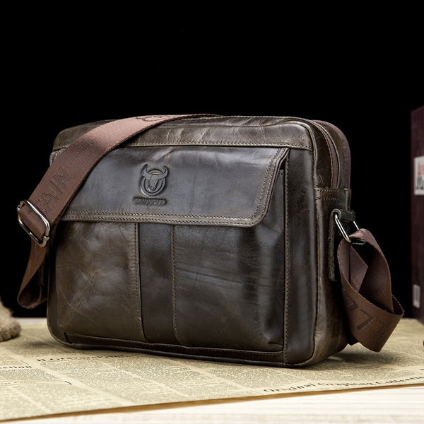 Men's Genuine Cowhide Leather Business/Travel Shoulder Bag