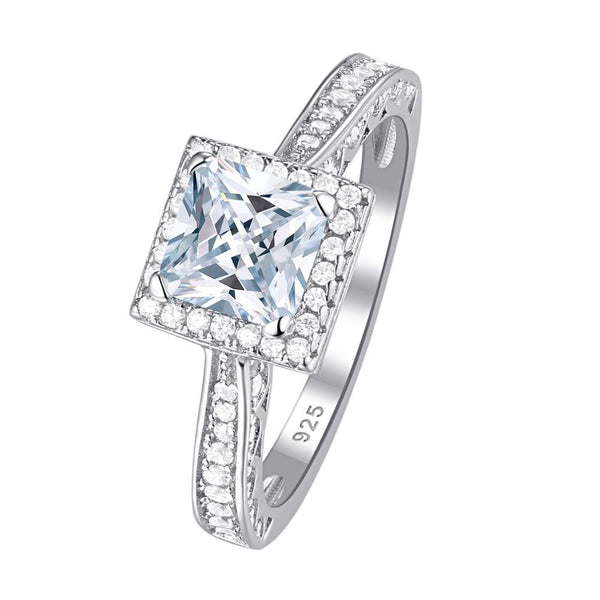 2.8CT Princess Cut White AAA Cubic Zircon on a 3pcs 925 Sterling Silver Ring - StoreFour