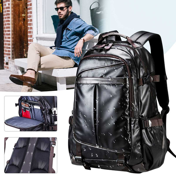 "Men's Synthetic Leather 14""-16"" Laptop Backpack: Business/School/Travel"