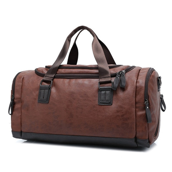Men's Leather Large Capacity Duffle Bag: Travel, Business, Gym, School, Everyday