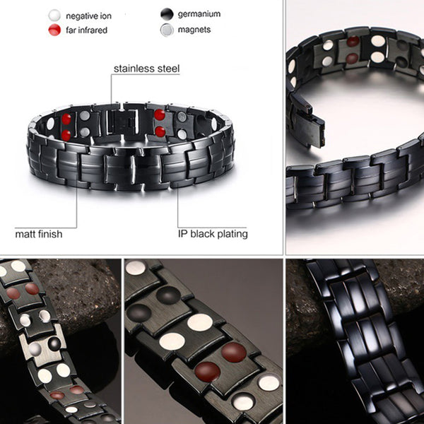 Men's Stainless Steel 4 in 1 Magnetic Therapy Bracelet - StoreFour