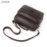 Genuine Leather Multi-layer Men's Business/Travel/Shool Shoulder Bag