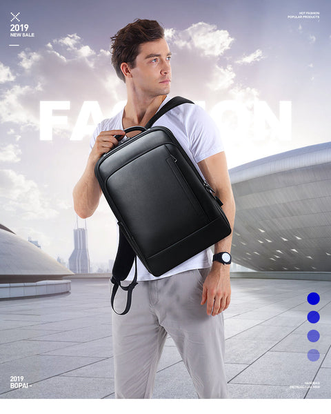 Genuine Cow Leather Top Quality Backpack: Casual, Business, Travel, School