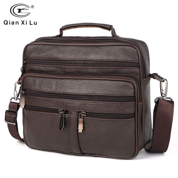 Genuine Leather Multi-layer Men's Business/Travel/Shool Shoulder Bag - StoreFour
