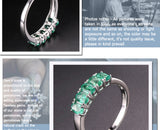 Women's 1.06CT, 5 Natural Emerald Gemstones on a Pure 925 Sterling Silver Ring - StoreFour