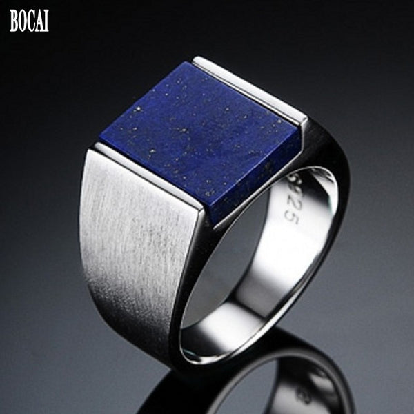 Stunning Lapis Lazuli  Stone on an S925 Silver Luxury Ring for Men - StoreFour