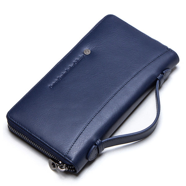 Versatile Men's Genuine Leather Brand Long Zipper Wallet/Phone Case - StoreFour