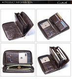 Versatile Men's Genuine Leather Brand Long Zipper Wallet/Phone Case