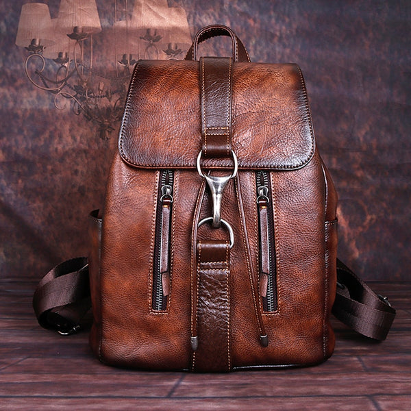 Natural Skin Genuine Leather Women's Backpack: Work, Travel, School