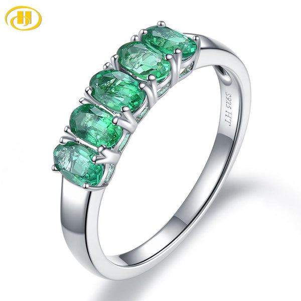 Women's 1.06CT, 5 Natural Emerald Gemstones on a Pure 925 Sterling Silver Ring