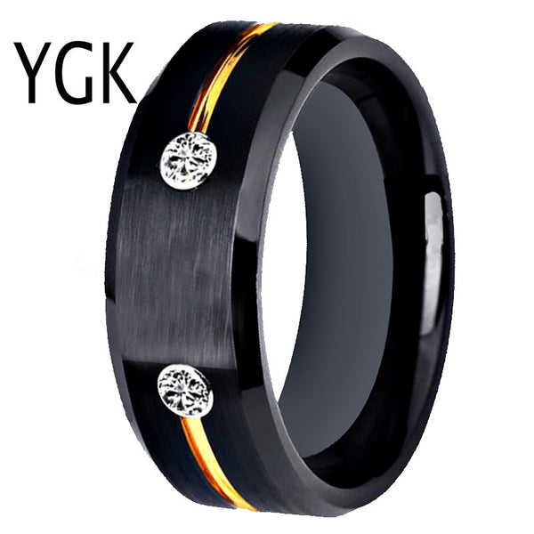 Tungsten Men's Black Ring: Golden Groove CZ Inlay: Any Occasion