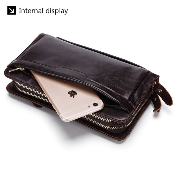 Vintage Men's Genuine Leather Long Wallet / Phone Case