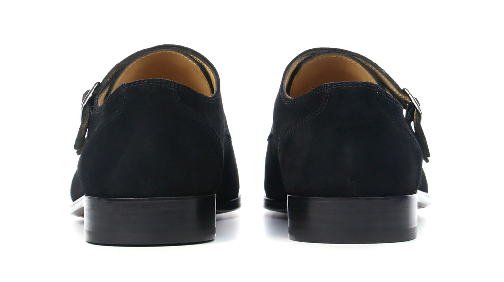 Double Monk Black Suede