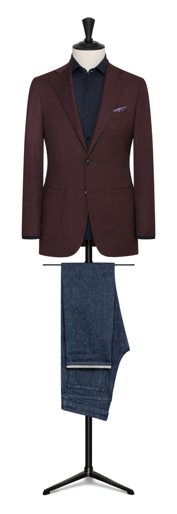BURGUNDY STRETCH WOOL BLEND