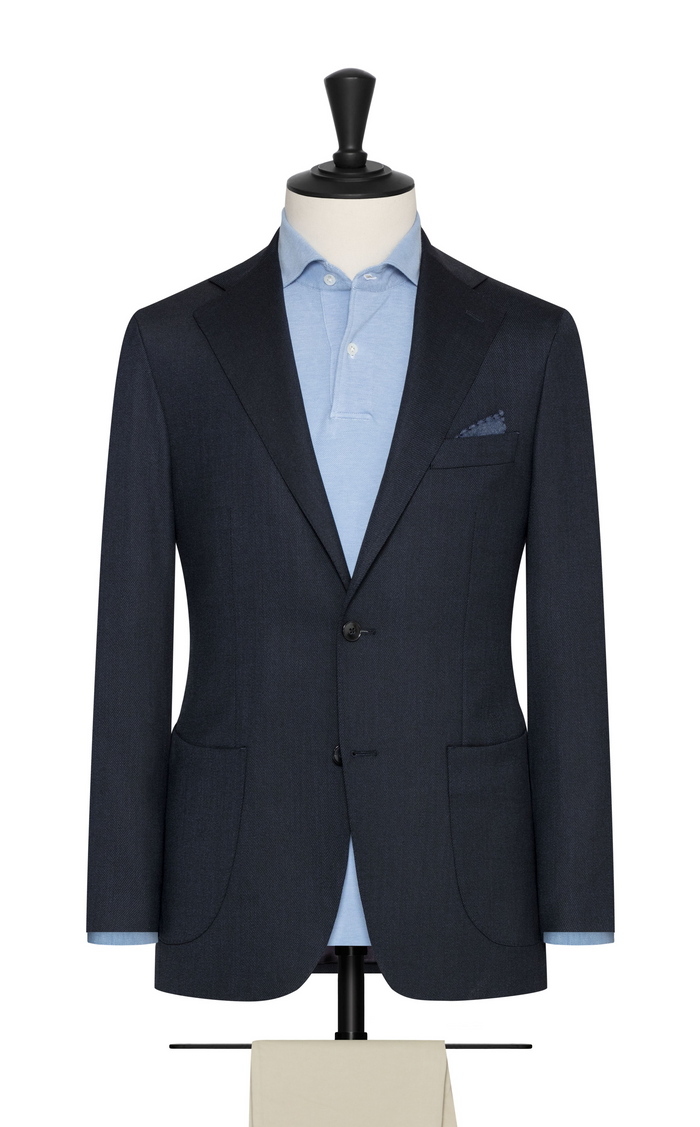 MIDNIGHT BLUE STRETCH WOOL