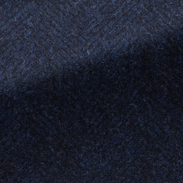 BLUE-BLACK WOOL-CASHMERE HERRINGBONE